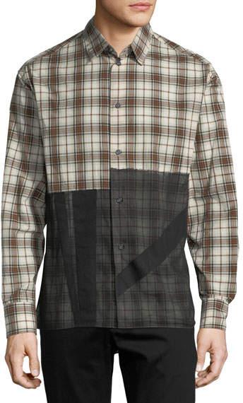 Lanvin Patchwork Plaid Sport Shirt