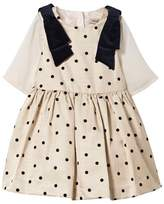 Hucklebones Ivory and Navy Spot and Bow Dress
