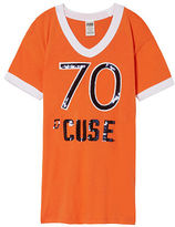 PINK Syracuse University Bling V-Neck Ringer Tee