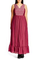 City Chic 'Embroidered Love' Maxi Dress (Plus Size)