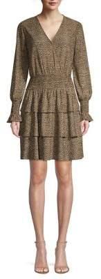 MICHAEL Michael Kors Cheetah Tiered Ruffle Blouson Dress