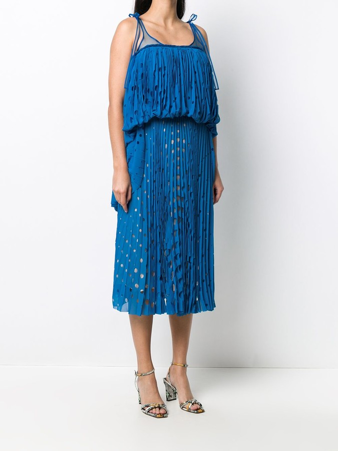 Thumbnail for your product : Marco De Vincenzo Tiered Laser-Cut Midi Dress