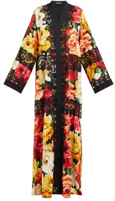 Dolce & Gabbana Peony-print Lace-trim Silk-blend Coat - Womens - Black Multi