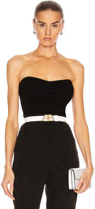 Cushnie Strapless Fitted Knit Top in Black | FWRD