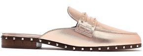 Valentino Garavani Soul Rockstud Metallic Leather Slippers