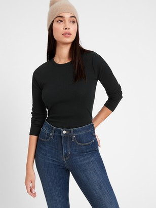 Banana Republic Petite Fitted Ribbed Long-Sleeve T-Shirt