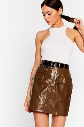 Nasty Gal Womens This isn't Working Faux Leather Mini Skirt - Brown - 12