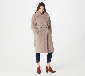 Martha Stewart Long Faux Curly Lamb Fur Coat