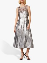 Phase Eight Lainey Shimmer Sequined Midi Dress, Silver
