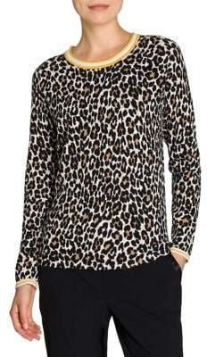 Olsen Glam Leopard-Print Cotton Tee