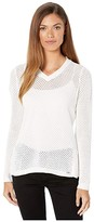 FDJ French Dressing Jeans Jeans Solid Mesh Stitch V-Neck Long Sleeve Sweater (Off-White) Women's Clothing