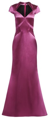 Zac Posen Cap Sleeve Stretch Satin Gown