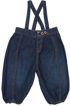 Gucci Cotton Denim Pants W/ Suspenders