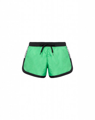 Moschino Logo Bands Nylon Beach Shorts Man Green Size L It - (m Us)