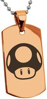 Tioneer Stainless Steel Super Mario Bros Toad Engraved Dog Tag