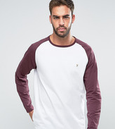 Farah T-Shirt with Contrast Raglan Long Sleeves Slim Fit Exclusive