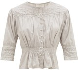 Mimi Prober - Barton Lace-trimmed Organic-cotton Blouse - Womens - Grey Multi