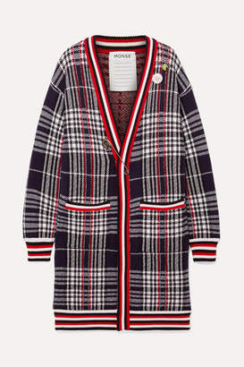 Monse Oversized Embellished Checked Wool Cardigan - Black