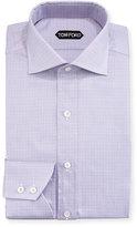 Tom Ford Tattersall Cotton Dress Shirt, Lavender/White