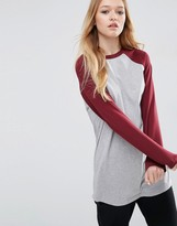 Asos Longline T-Shirt With Contrast Sleeve