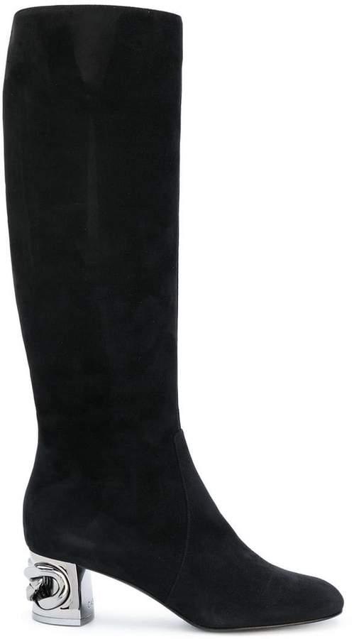 Casadei metallic heel under-the-knee boots