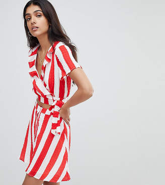 Glamorous Tall Crop Top With Frill Collar And Tie Side In Stripe Co-Ord-Red