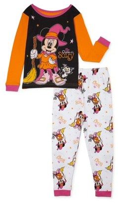 Minnie Mouse Toddler Girls Halloween Snug Fit Cotton Long Sleeve Pajamas, 2-Piece PJ Set (2T-5T)