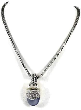 David Yurman Sterling Silver & 18K Yellow Gold Chalcedony Diamond Capri Pendant Necklace