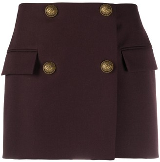 Balmain Double-Breasted Wool Mini-Skirt