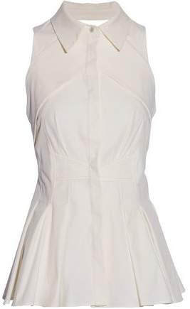 Antonio Berardi Pleated Cotton-Blend Twill Peplum Top