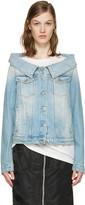 MSGM Blue Off-The-Shoulder Denim Jacket