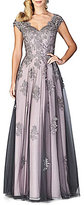 La Femme V-Neck Lace Applique Ball Gown
