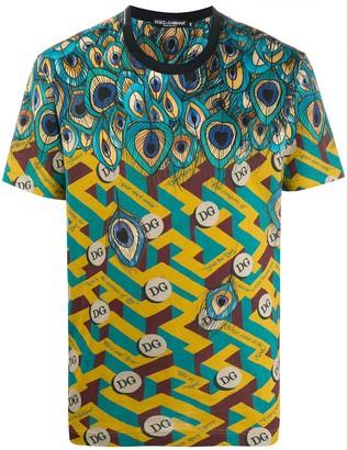 Dolce & Gabbana feather-print cotton T-shirt