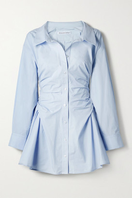 alexanderwang.t Gathered Cotton-poplin Mini Shirt Dress - Light blue