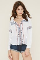 Forever 21 FOREVER 21+ Self-Tie Peasant Top