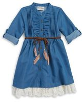 Rare Editions Little Girl's Denim Shirtdress