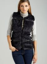 Members Only Pieced Lthr Faux Fur Vest