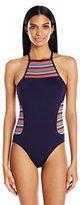 Anne Cole Women's Multi Color Crochet High Neck Side Splice One Piece Swimsuit
