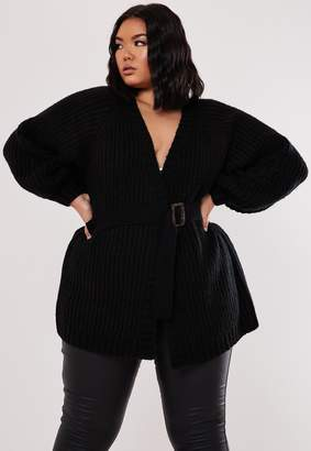Missguided Plus Size Black Balloon Sleeve Belted Cardigan