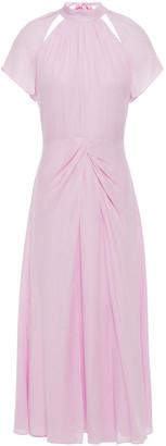 Kate Spade Cutout Twist-front Gathered Silk-cady Midi Dress