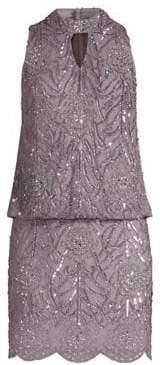 Aidan Mattox Beaded Halter Mini Dress