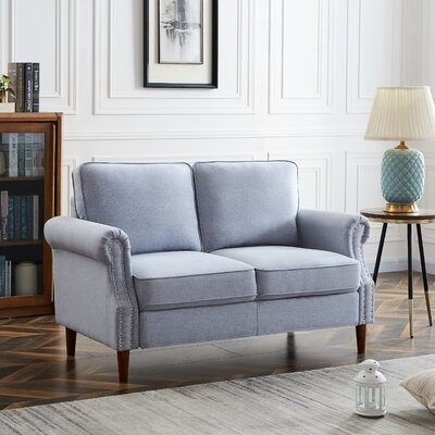 """Thumbnail for your product : Winston Porter Lenna 55.9"""" Linen Round Arm Modular Sofa with Reversible Cushions"""