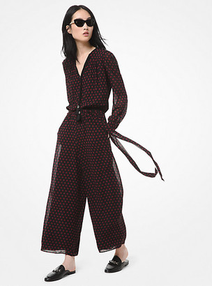Michael Kors Dot Georgette Wide-Leg Jumpsuit