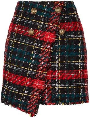 Balmain Tartan wrap-effect tweed mini skirt