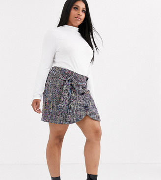 Asos DESIGN Curve boucle wrap mini skirt with buttons and tie waist-Multi