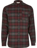River Island MensPurple casual check flannel shirt