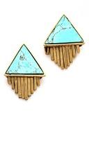A Peace Treaty Iina Triangle Stone and Fringe Earrings