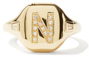 Shay Initial Diamond & 18kt Gold Pinky Ring (n-z) - Yellow Gold