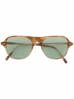 Oliver Peoples Tortoiseshell-Effect Aviator Sunglasses