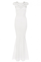 Quiz Adella White Sequin Cap Sleeve Bridal Dress